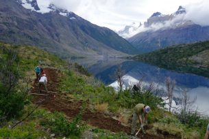 9. Legacy Fund volunteers hard at work on a new trail that provides even more stunning views of the park's iconic Cuernos.Credit Eric Lee