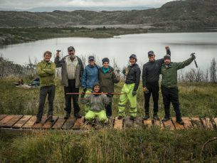 HEADER PHOTO 12.Legacy Fund volunteers and rangers celebrating their newly completed boardwalk.Credit Project Eudaimonia