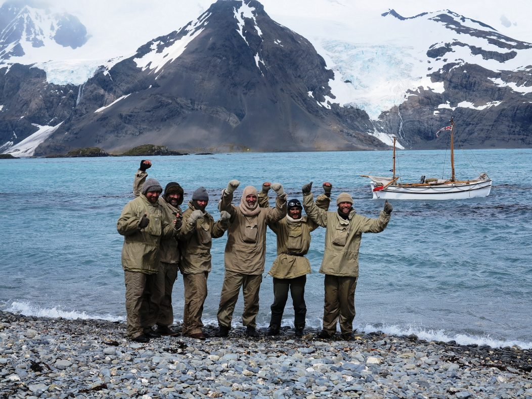 HI-RES-The-crew-of-Alexandra-Shackleton-onshore-at-South-Georgia-cheer-their-successful-completion-of-leg-1-of-their-historic-re-enactment.-Image-Jo-Stewart-Shackleton-Epic