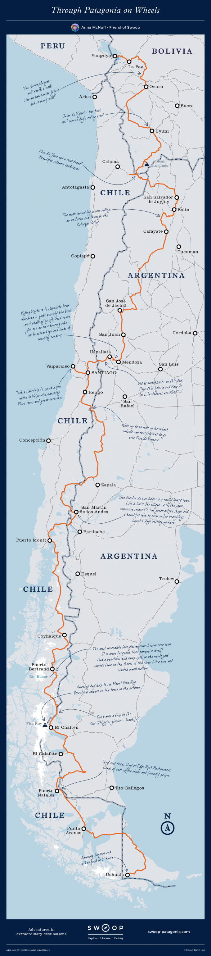 South America Cycle Route Map Anna McNuff