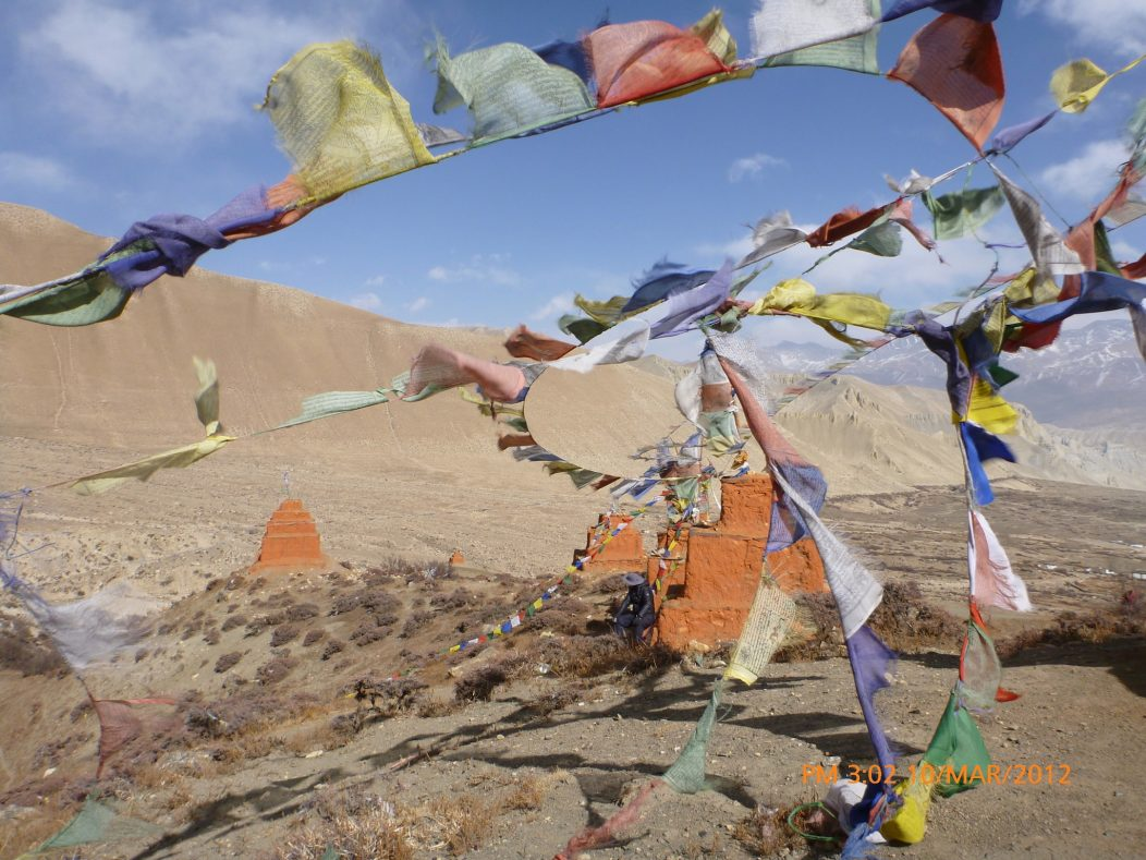 Prayer flags blowing in the wind