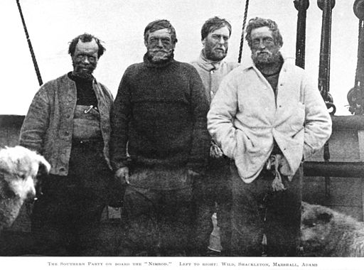 Ernest Shackleton and the unsuccessful Nimrod Expedition South Pole Party (l to r: Wild, Shackleton, Marshall and Adams)