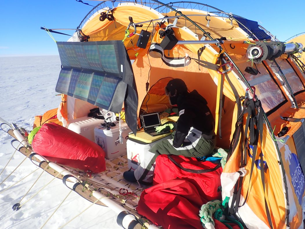 Scientific equipment on WindSled was powered by solar energy